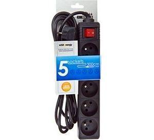 Obrázok pre výrobcu Whitenergy predlžovací kábel s prepäťovou ochranou 125J, 5 zásuvky, 3m, čierna