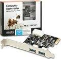 Obrázok pre výrobcu AXAGO, PCEU-23R, PCI express, 2x USB 3.0 external, chip Renesas, Low profile + Full profile