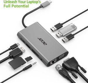 Obrázok pre výrobcu Acer USB-C Dongle 10-in-1 (PowerDelivery, HDMI, VGA, LAN, 3x USB, Card Reader, Audio)