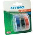 Obrázok pre výrobcu Dymo originál páska do tlačiarne štítkov, Dymo, S0847750, biely tlač/čierny, modrý, červený podklad, 3m, 9mm, 1 blister/3 ks, 3D