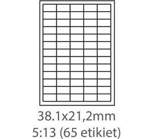 Obrázok pre výrobcu etikety ECODATA Samolepiace 38,1x21,2 univerzálne biele 65ks/A4 (100 listov A4/bal.)