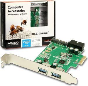 Obrázok pre výrobcu AXAGO, PCEU-232R, PCI express, 2x USB 3.0 external, 2x internal, Low profile + Full profile
