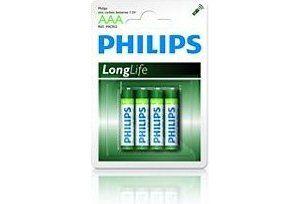 Obrázok pre výrobcu Philips baterie AAA LongLife zinkochloridová - 4ks, blister