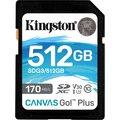 Obrázok pre výrobcu KINGSTON 512GB SDXC Canvas Go! Plus 170R/90W CL10 U3 V30