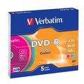 Obrázok pre výrobcu Verbatim DVD-R (5-Pack)Slim/Colour/16x/4.7GB