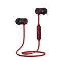 Obrázok pre výrobcu Bezdrôtové bluetooth slúchadlá W2 červeno-čierna, s magnetickým uchycením, mikrofón, ovládanie hlasitosti, červeno-čierna, športove