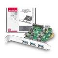 Obrázok pre výrobcu AXAGON PCEU-330V, PCIe adapter 3+1x USB3.0, UASP, nabíjení 3A, VIA + LP