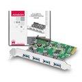 Obrázok pre výrobcu AXAGON PCEU-430V, PCIe adapter 4x USB3.0, UASP, nabíjení 3A, VIA