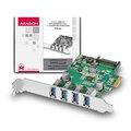 Obrázok pre výrobcu AXAGON PCEU-43V, PCIe adapter 4x USB3.0, UASP, nabíjení 3A, VIA + LP