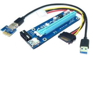 Obrázok pre výrobcu Qoltec Riser PCi-E 1x - 16x | USB 3.0 | SATA/ IDE MOLEX | 4pin