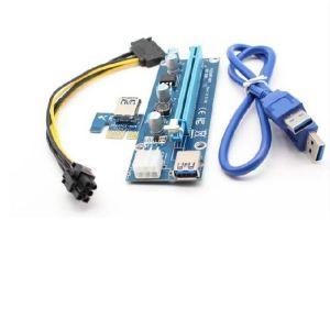 Obrázok pre výrobcu Qoltec Riser PCi-E 1x - 16x | USB 3.0 | SATA/ PCI-E | 6pin