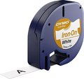 Obrázok pre výrobcu Dymo originál páska do tlačiarne štítkov, Dymo, S0718850, čierny tlač/biely podklad, 2m, 12mm, LetraTag nažehľovacia páska