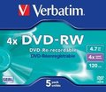 Obrázok pre výrobcu Verbatim DVD-RW [ jewel case | 4.7GB | 4x ] - 1ks