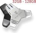 Obrázok pre výrobcu VIKING USB FLASH DISK 3.0 4v1 64GB, S KONCOVKOU APPLE LIGHTNING, USB-C, MICRO USB, USB3.0, stříbrná